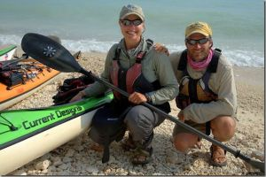 Dave and Amy Freeman in Key West, Florida at the end of their 11,700 mile journey by canoe, kayak, and dogsled across North America.